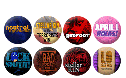 One Inch Button Designs for bands and small businesses